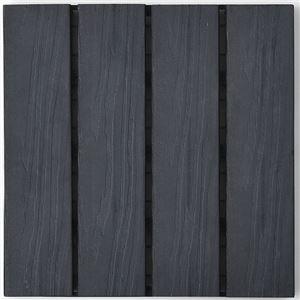 木目調 ジョイントタイル 10枚組 【ブラック】 正方形 幅29.5cm 人工木製 耐水性 簡単設置 〔ガーデニング用品〕