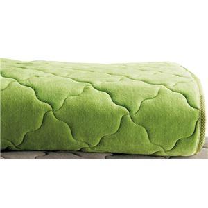 発熱機能 ラグマット/絨毯 【約190cm×280cm グリーン】 長方形 洗える 折りたたみ 表地:綿100% 吸湿 蓄熱 〔リビング〕