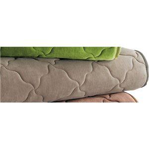 発熱機能 ラグマット/絨毯 【約190cm×280cm グレージュ】 長方形 洗える 折りたたみ 表地:綿100% 吸湿 蓄熱 〔リビング〕