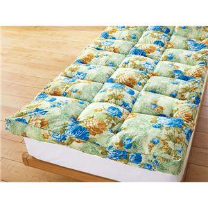 敷きパッド型 敷布団/寝具 【クイーン グリーン】 ポリエステル マチ付やわらか 〔寝室 ベッドルーム リビング〕