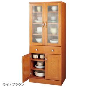 かわいいキッチン収納シリーズ【食器棚型幅60cmライトブラウン】木製桐材取っ手キャスター付き〔台所収納〕