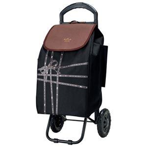 ショッピングカート/キャリーカート【ブラック】幅30cm積載荷重7kgリボンテープ柄『ホールマーク』〔お買い物〕