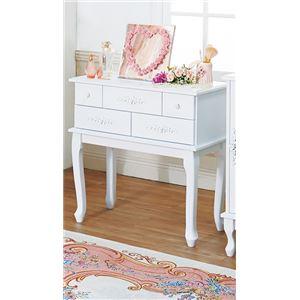 猫脚リビング収納/収納棚 【コンソール型 幅75cm】 引き出し5杯 木製脚付 『ピュアホワイトアンティーク飾り家具』 の画像