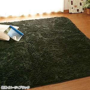 さらふわシャギーラグマット(ホットカーペット対応) 【長方形/約130×185cm】 ブラック(黒)