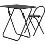 シンプル テーブル・チェアーセット 【ブラック】 机:幅70cm 折りたたみ スチールフレーム 【完成品】 〔引っ越し 一人暮らし〕
