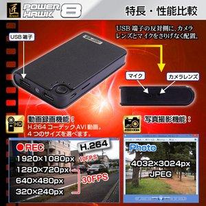 【小型カメラ】【microSDカード16GB+ACアダプターセット】モバイルバッテリー型ビデオカメラ(匠ブランド)『POWER HAWK 8』(パワーホーク8)2013年モデル