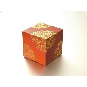 KT2034A 花丸春秋5.0三段重(古代朱)(A) 【Kaze-ya style・北市漆器店 】