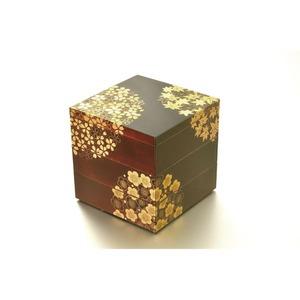 KT2033A 花丸春秋5.0三段重(溜)(A) 【Kaze-ya style・北市漆器店 】