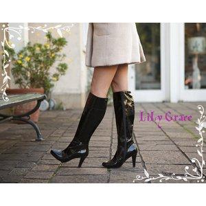 晴れても履けるおしゃれなハイヒールレインブーツ LiLy Grace Black38サイズ