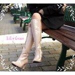 晴れても履けるおしゃれなハイヒールレインブーツ LiLy Grace Pink36サイズ