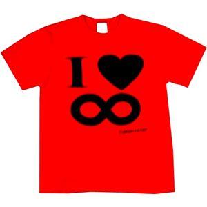 【アホ研究所・アホTシャツ・自虐Tシャツ・おもしろTシャツ】I Love ∞ Mサイズ レッド - 拡大画像