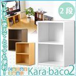 カラーボックスシリーズ【kara-baco2】2段 ブラウン