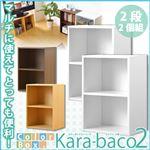 カラーボックスシリーズ【kara-baco2】2段 2個セット ブラウン