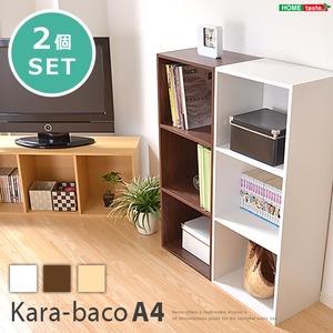 カラーボックス/収納棚 同色2個セット 【3段/ナチュラル】 ロングタイプ/A4収納可 幅42cm 『kara-baco』