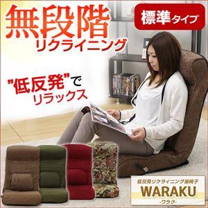 腰にやさしい!低反発入りのレバー付きリクライニング座椅子【-WARAKU-ワラク】(標準タイプ) グリーン - 拡大画像