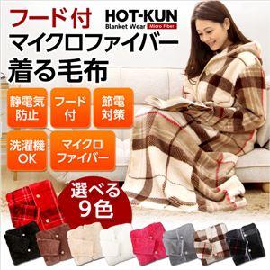 フード付き!ふわふわのマイクロファイバー着る毛布【HOT-KUN】 グレー - 拡大画像