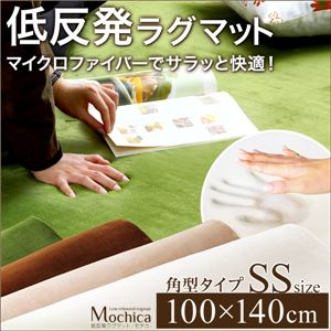 低反発マイクロファイバーラグマット/絨毯 【SSサイズ/ブラウン】 100cm×140cm 『Mochica』 滑り止め付き 床暖房・ホットカーペット対応