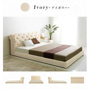 ローベッド/フロアベッド 【セミダブルサイズ/アイボリー】 姫系 『Sarah』 張地:合成皮革(合皮) ヘッドボード付き すのこ床の写真1