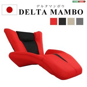 デザイン座椅子/リクライニングチェア 【レッド】 14段階ギア調節可 『DELTA MANBO』 メッシュ生地 日本製 【完成品】