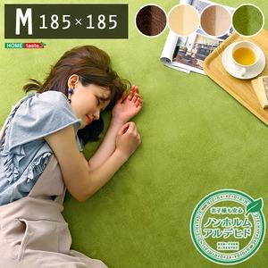 洗える ラグマット/絨毯 【Mサイズ 185×185/イエローベージュ】 高密度フランネルマイクロファイバー 『ナルトレア』