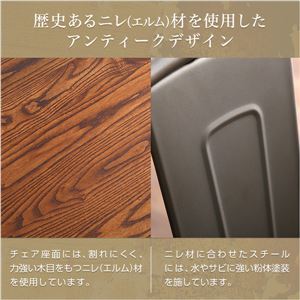 アンティーク調 ダイニングチェア 【2脚セット メタル】 天然木×スチール スタッキング可 『Porian-ポリアン-』 【完成品】