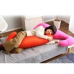 ビーズクッション/抱きまくら 【ロングタイプ/レッド】 流線形 日本製 『Dugong-ジュゴン-』