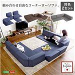 組み合わせ自由 日本製 コーナーローソファ フロアタイプ 【Linum-リナム- 2SET 】 ブラウン