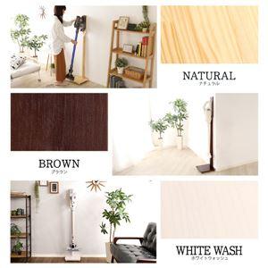 壁を傷つけない「立てる」収納 天然木クリーナースタンド【Sottlie-ソッティーレ】ホワイト (WHW)