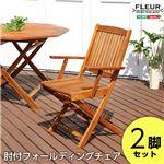 アジアン カフェ風 テラス 【FLEURシリーズ】肘付きチェア 2脚セット