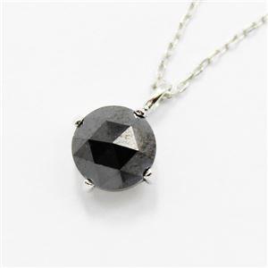 18金ホワイトゴールド1ctローズカットブラックダイヤモンドペンダント/ネックレス h01