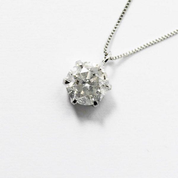 純プラチナ0.9ctダイヤモンドペンダント/ネックレス ベネチアンチェーンf00