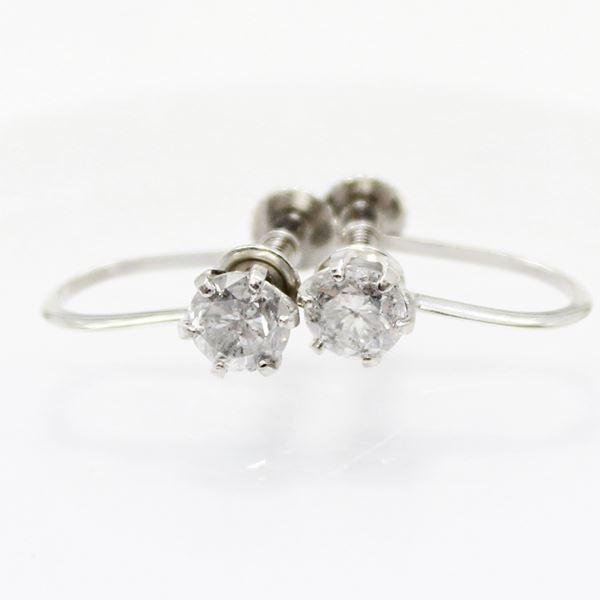 プラチナ0.6ctダイヤリング 指輪6爪スクリュー式イヤリングf00