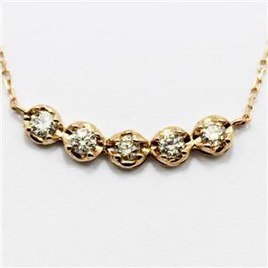 18金ピンクゴールド0.3ctダイヤモンド5ラインデザインペンダント h01
