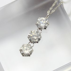 純プラチナ1.2ctダイヤモンドスウィングトリロジーデザインペンダント