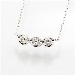 18金ホワイトゴールド0.2ctトリロジーラインダイヤモンドペンダント/ネックレス - 拡大画像