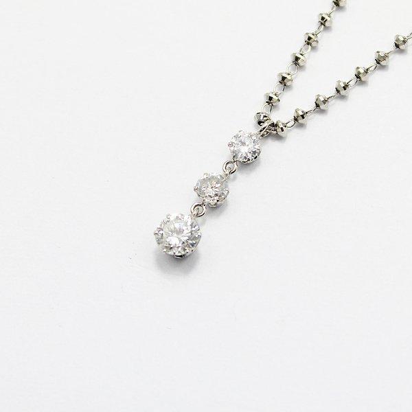 プラチナ0.45ctダイヤモンドスウィングトリロジーデザインペンダントf00