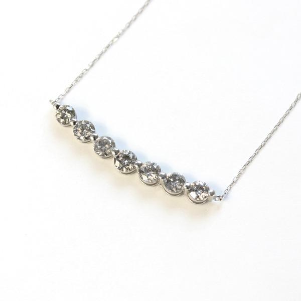プラチナ1ctダイヤモンド7ストーンラインペンダントf00