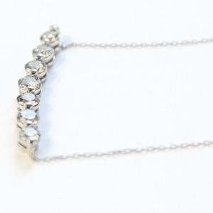 プラチナ1ctダイヤモンド7ストーンラインペンダント h02