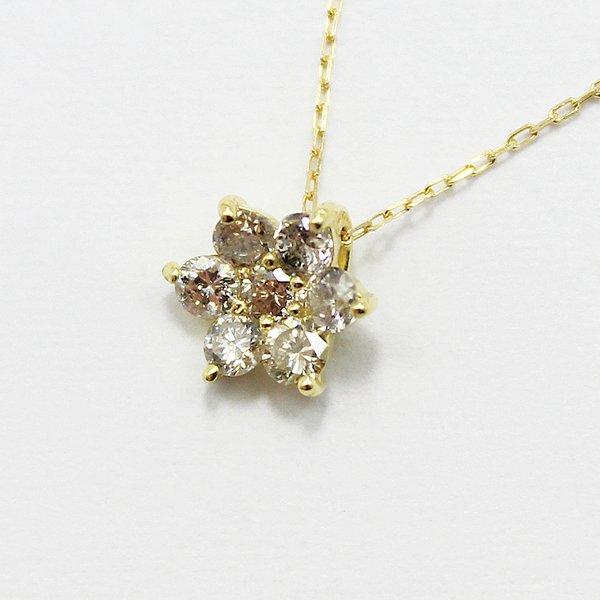 18金0.3ctブラウンダイヤモンドフラワーチャームペンダントf00