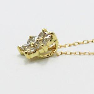 18金0.3ctブラウンダイヤモンドフラワーチャームペンダント h02