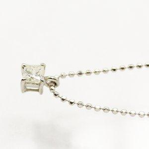 純プラチナ台プリンセスカット0.15ctライトイエローダイヤモンドペンダント/ネックレス h02