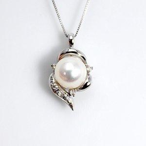 宇和島産 7mm珠あこや真珠 ホワイトピンク系 ダイヤモンド 雫 ペンダント ネックレス