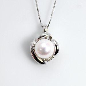 宇和島産 7mm珠あこや真珠 ホワイトピンク系 ダイヤモンド 蕾 ペンダント ネックレス