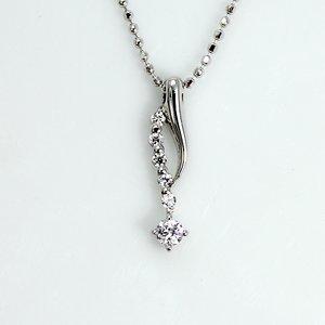 0.1ct 天然ダイヤモンド 6ストーン デザイン ペンダント ネックレス