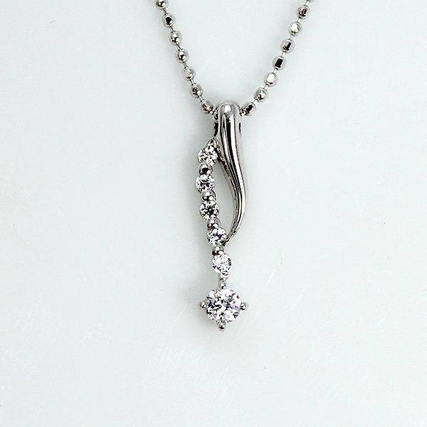 0.1ct 天然ダイヤモンド 6ストーン デザイン ペンダント ネックレスf00