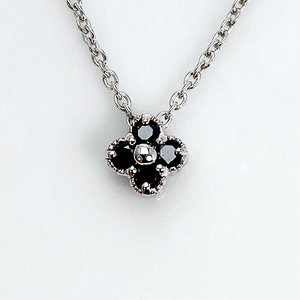 0.1ct ブラックダイヤモンド ミル打ち 四つ葉 クローパー ペンダント ネックレス