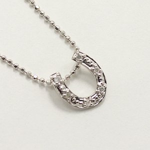 天然ダイヤモンド 6石ストーン ホースシュー 馬蹄 デザイン ペンダント ネックレス h02