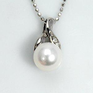 宇和島産 7mm珠あこや真珠 ホワイトピンク系 天然ダイヤモンド デザイン ペンダント ネックレス