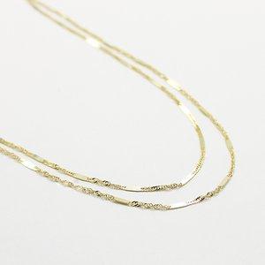 10金イエローゴールド 40cm 鏡面 ヘリンボーン スクリュー チェーン コンビ デザイン ネックレス h01
