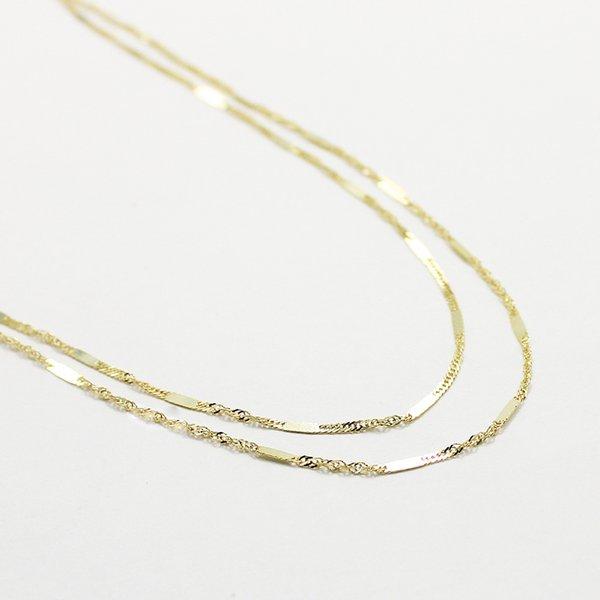 10金イエローゴールド 40cm 鏡面 ヘリンボーン スクリュー チェーン コンビ デザイン ネックレスf00